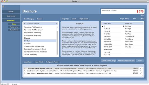 Cradoc fotoSoftware fotoBiz X - Stock & Assignment Pricing with fotoQuote built in