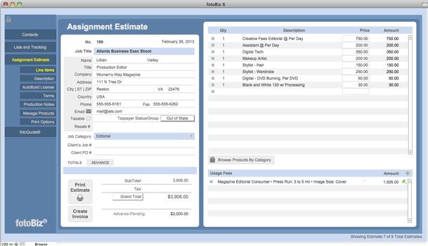 Cradoc fotoSoftware fotoBiz X - Assignment Photography Business Management Software