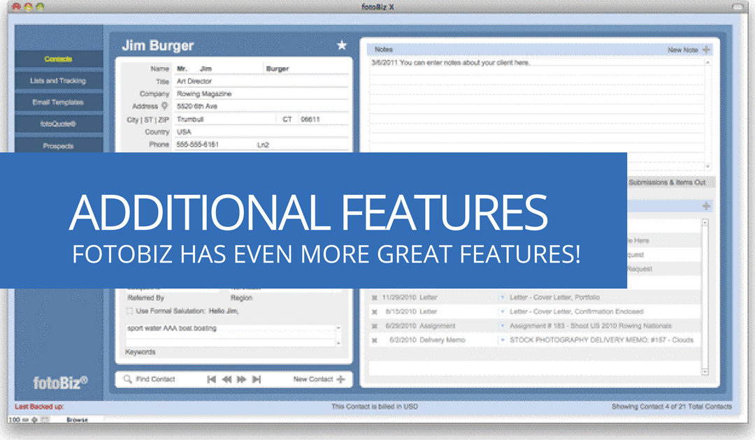 Additional fotoBiz Features