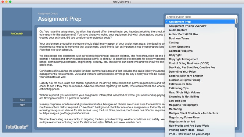 fotoQuote Coach - assignment pricing tips for freelance photographers